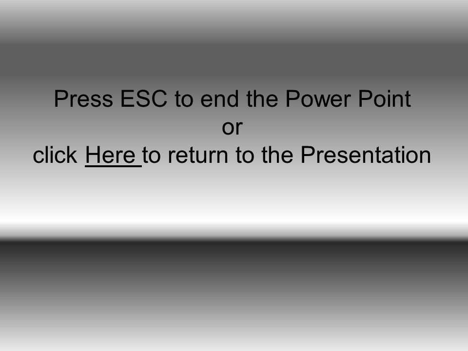 Press ESC to end the Power Point or click Here to return to the PresentationHere