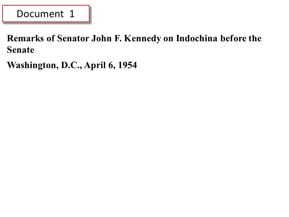 Document 1 Remarks of Senator John F.
