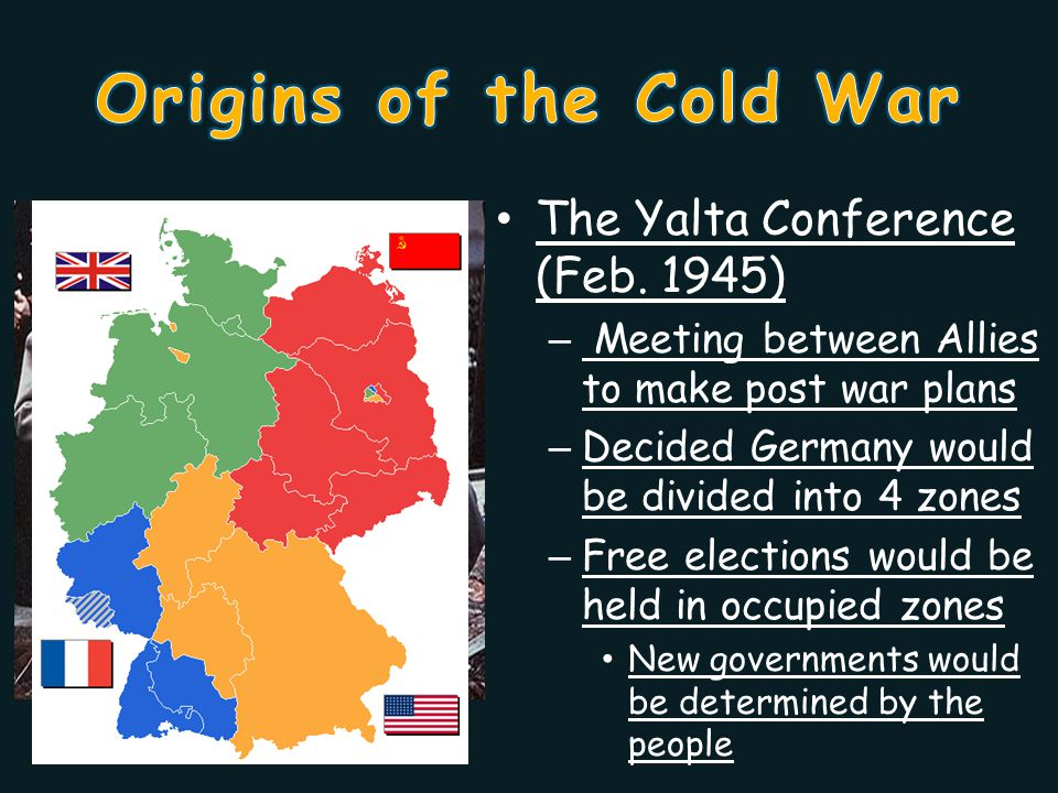 Stalin kept his troops in Eastern Europe – Cancels elections – Sets up communist governments in territories captured by the Soviet troops