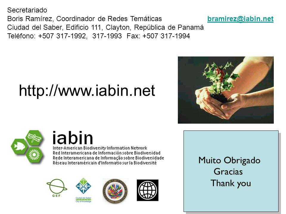www.iabin.net Muito Obrigado Gracias Thank you Muito Obrigado Gracias Thank you Secretariado Boris Ramírez, Coordinador de Redes Temáticasbramirez@iabin.net Ciudad del Saber, Edificio 111, Clayton, República de Panamá Teléfono: +507 317-1992, 317-1993 Fax: +507 317-1994bramirez@iabin.net http://www.iabin.net