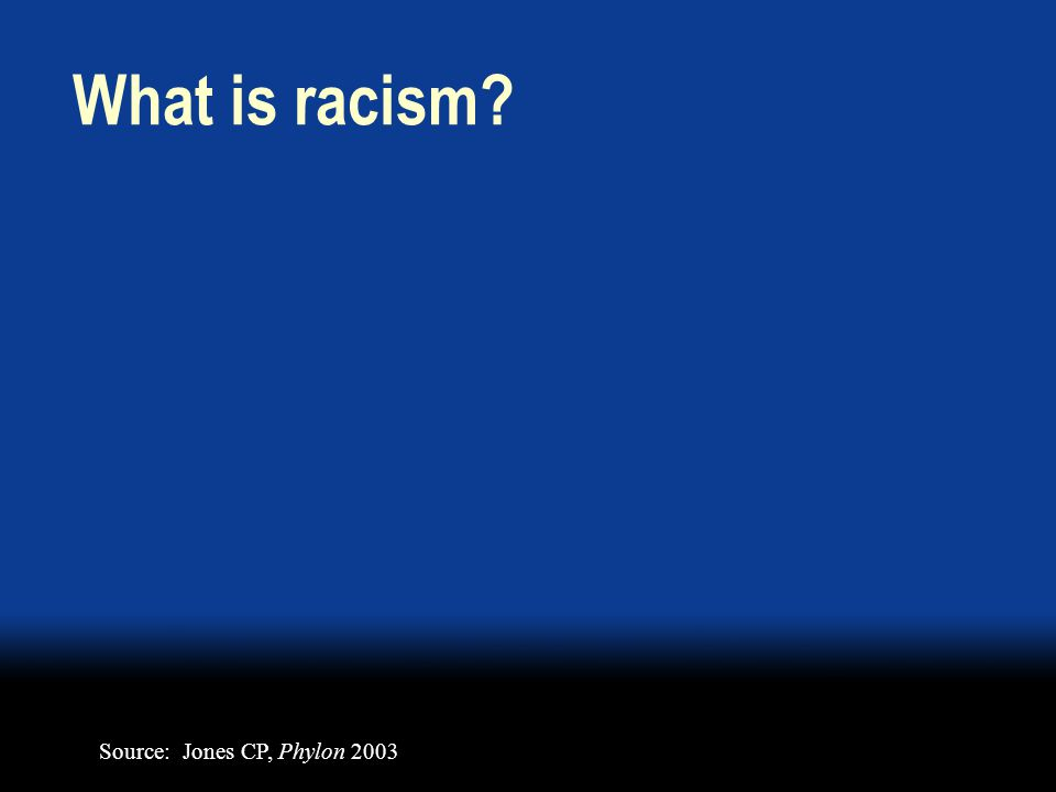 What is racism Source: Jones CP, Phylon 2003