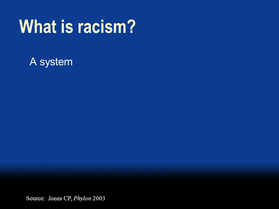 What is racism A system Source: Jones CP, Phylon 2003