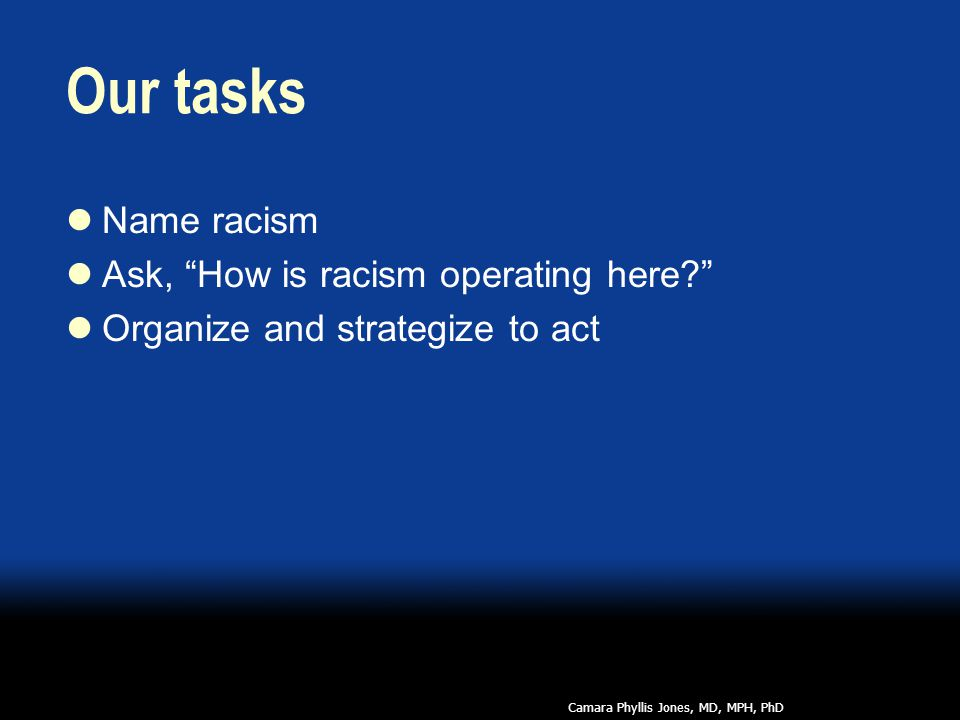 Our tasks Name racism Ask, How is racism operating here Organize and strategize to act Camara Phyllis Jones, MD, MPH, PhD