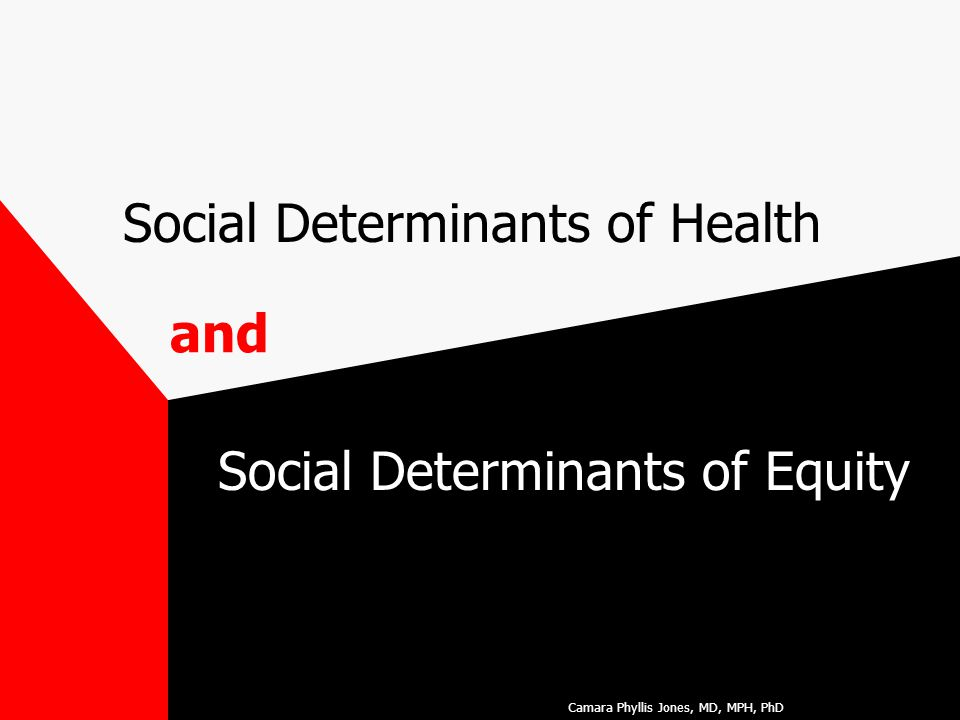 Social Determinants of Health Social Determinants of Equity and Camara Phyllis Jones, MD, MPH, PhD