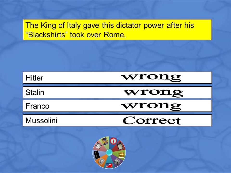 Hitler The King of Italy gave this dictator power after his Blackshirts took over Rome.