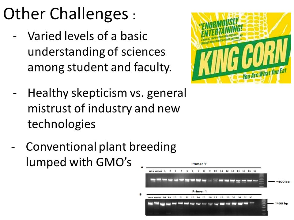 Other Challenges : -Varied levels of a basic understanding of sciences among student and faculty.