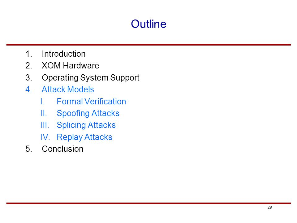 29 Outline 1.Introduction 2.XOM Hardware 3.Operating System Support 4.Attack Models I.Formal Verification II.Spoofing Attacks III.Splicing Attacks IV.Replay Attacks 5.Conclusion