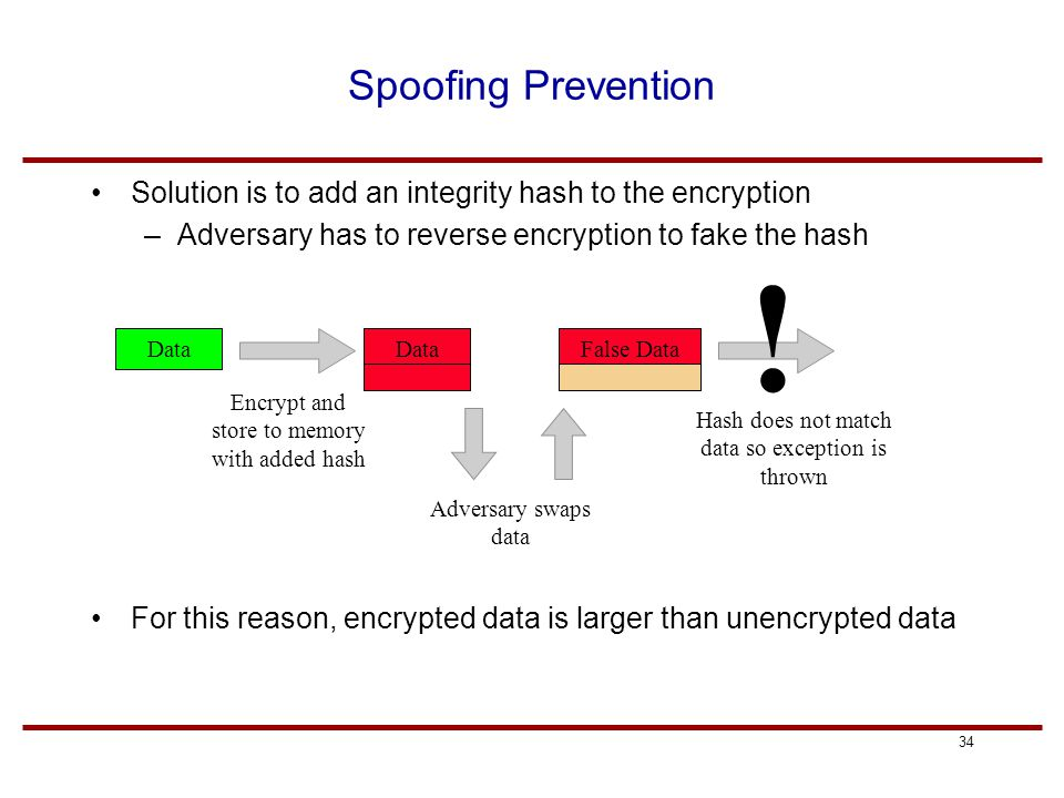 34 Spoofing Prevention Solution is to add an integrity hash to the encryption –Adversary has to reverse encryption to fake the hash For this reason, encrypted data is larger than unencrypted data Data Adversary swaps data False Data Encrypt and store to memory with added hash Hash does not match data so exception is thrown !