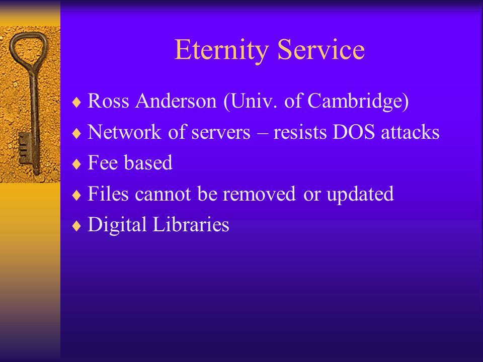Eternity Service  Ross Anderson (Univ.
