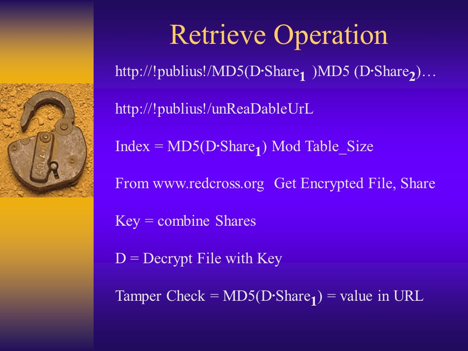 Retrieve Operation http://!publius!/MD5(D. Share 1 )MD5 (D.