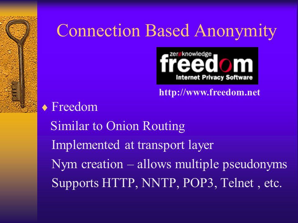 Location Based Anonymity  Rewebber (aka Janus) www.rewebber.de Author & Connection Based Tool HTTP Proxy URL Rewrite using public key crypto U=http://www.cs.nyu.edu/~waldman/publius.html E k (M)=Encrypt message M with public key k http://www.rewebber.com/surf-encrypted/E k (U)