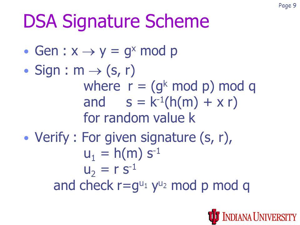 Page 9 DSA Signature Scheme Gen : x  y = g x mod p Sign : m  (s, r) where r = (g k mod p) mod q and s = k -1 (h(m) + x r) for random value k Verify : For given signature (s, r), u 1 = h(m) s -1 u 2 = r s -1 and check r=g u 1 y u 2 mod p mod q