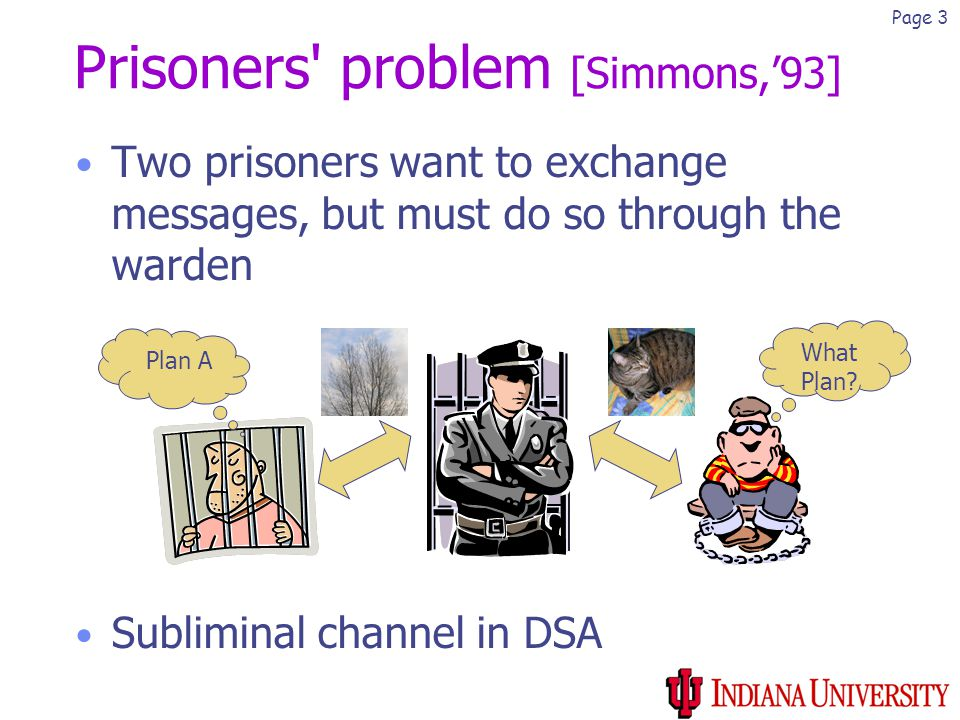 Page 3 Prisoners problem [Simmons,'93] Two prisoners want to exchange messages, but must do so through the warden Subliminal channel in DSA What Plan.
