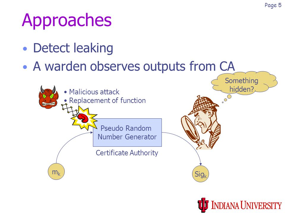 Page 5 Approaches Detect leaking A warden observes outputs from CA mkmk Pseudo Random Number Generator Sig k Something hidden.