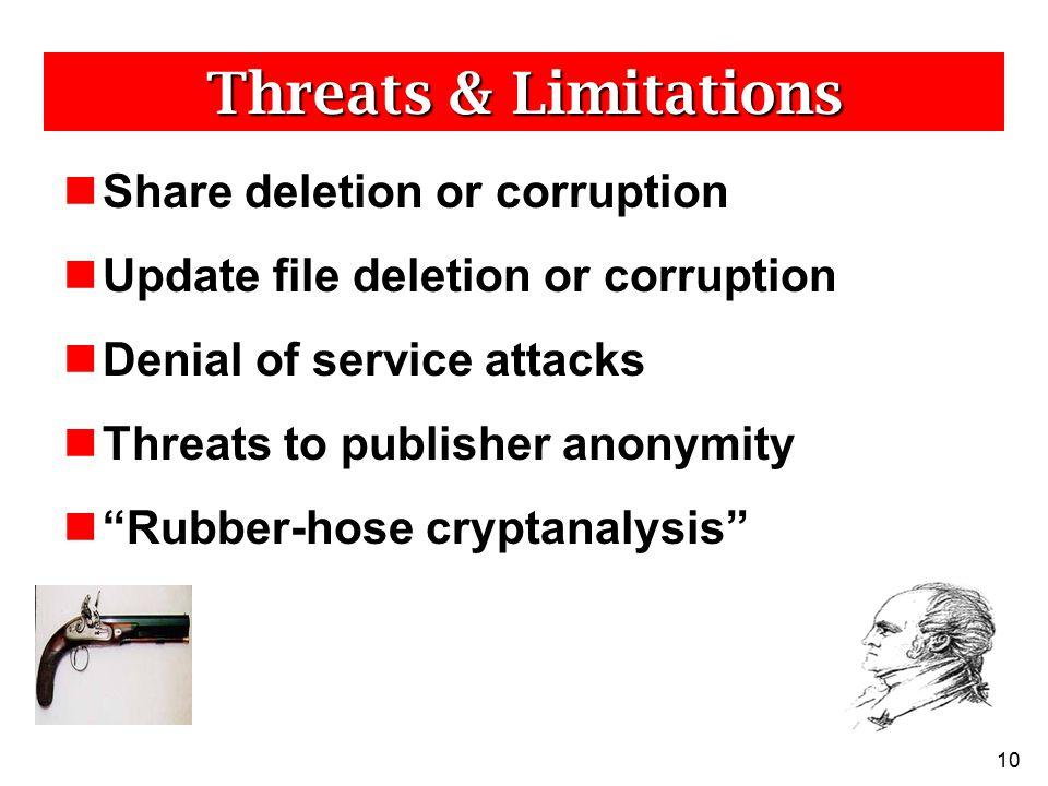 "10 Threats & Limitations Share deletion or corruption Update file deletion or corruption Denial of service attacks Threats to publisher anonymity ""Rub"