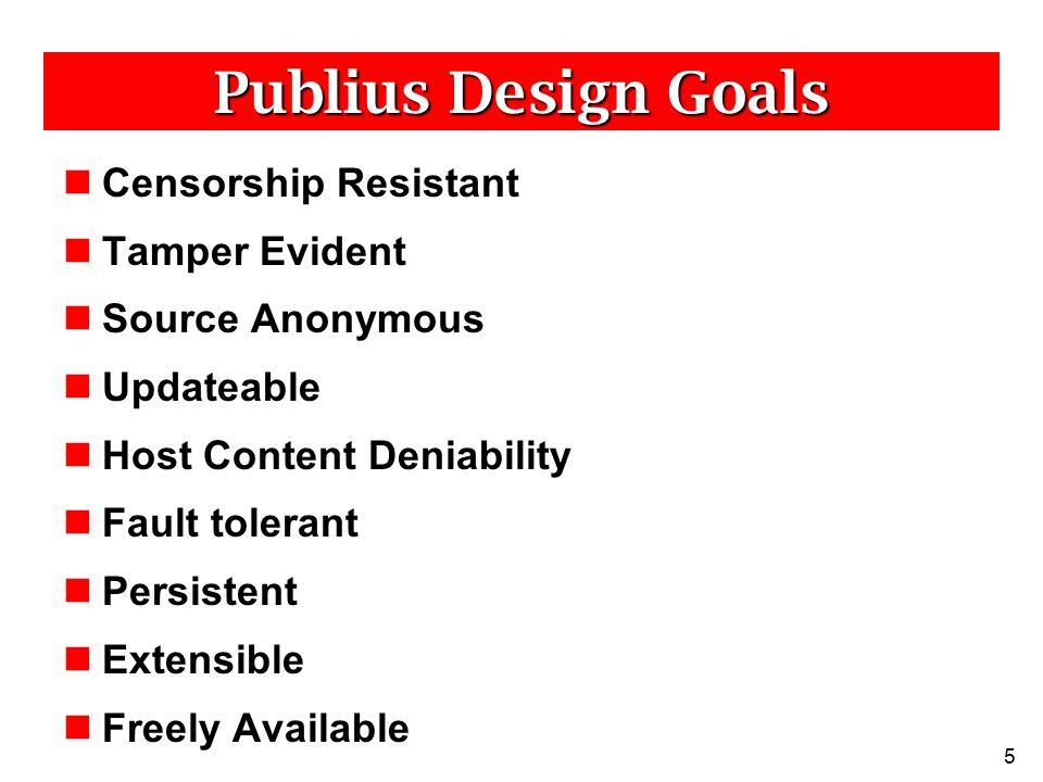 6 Publius Overview Publius Content – Static content (HTML, images, PDF, etc) Publishers – Post Publius content Servers – Host Publius content Retrievers – Browse Publius content PublishersServersRetrievers