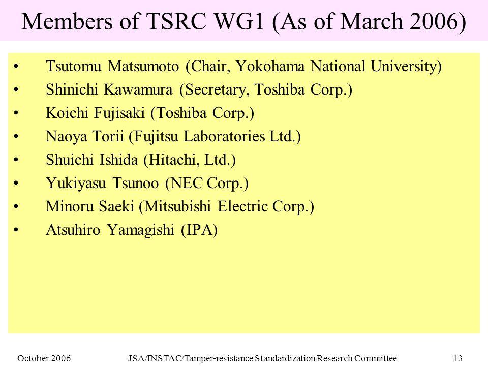 October 2006JSA/INSTAC/Tamper-resistance Standardization Research Committee13 Members of TSRC WG1 (As of March 2006) Tsutomu Matsumoto (Chair, Yokoham