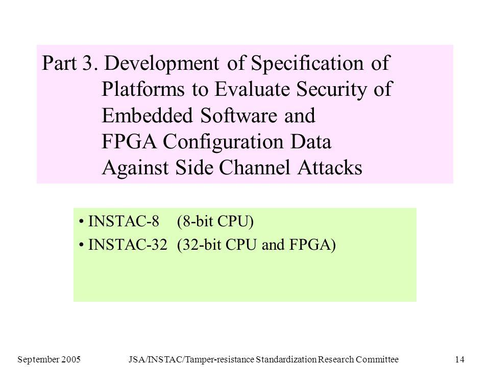 September 2005JSA/INSTAC/Tamper-resistance Standardization Research Committee14 Part 3.