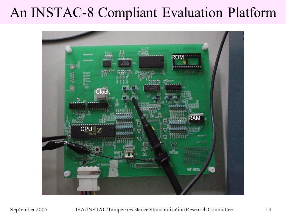 September 2005JSA/INSTAC/Tamper-resistance Standardization Research Committee18 An INSTAC-8 Compliant Evaluation Platform