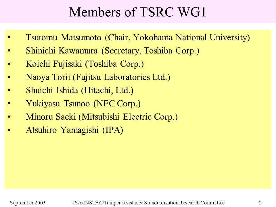 September 2005JSA/INSTAC/Tamper-resistance Standardization Research Committee2 Members of TSRC WG1 Tsutomu Matsumoto (Chair, Yokohama National University) Shinichi Kawamura (Secretary, Toshiba Corp.) Koichi Fujisaki (Toshiba Corp.) Naoya Torii (Fujitsu Laboratories Ltd.) Shuichi Ishida (Hitachi, Ltd.) Yukiyasu Tsunoo (NEC Corp.) Minoru Saeki (Mitsubishi Electric Corp.) Atsuhiro Yamagishi (IPA)
