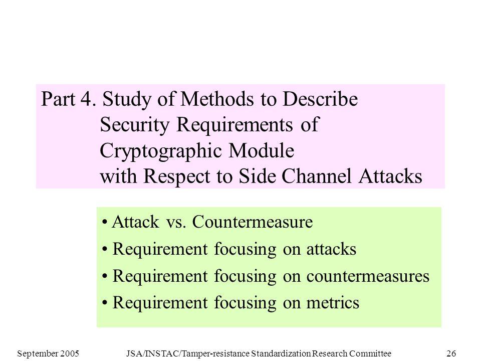 September 2005JSA/INSTAC/Tamper-resistance Standardization Research Committee26 Part 4.