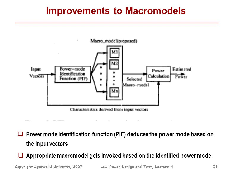 Copyright Agarwal & Srivaths, 2007Low-Power Design and Test, Lecture 4 21 Improvements to Macromodels  Power mode identification function (PIF) deduc