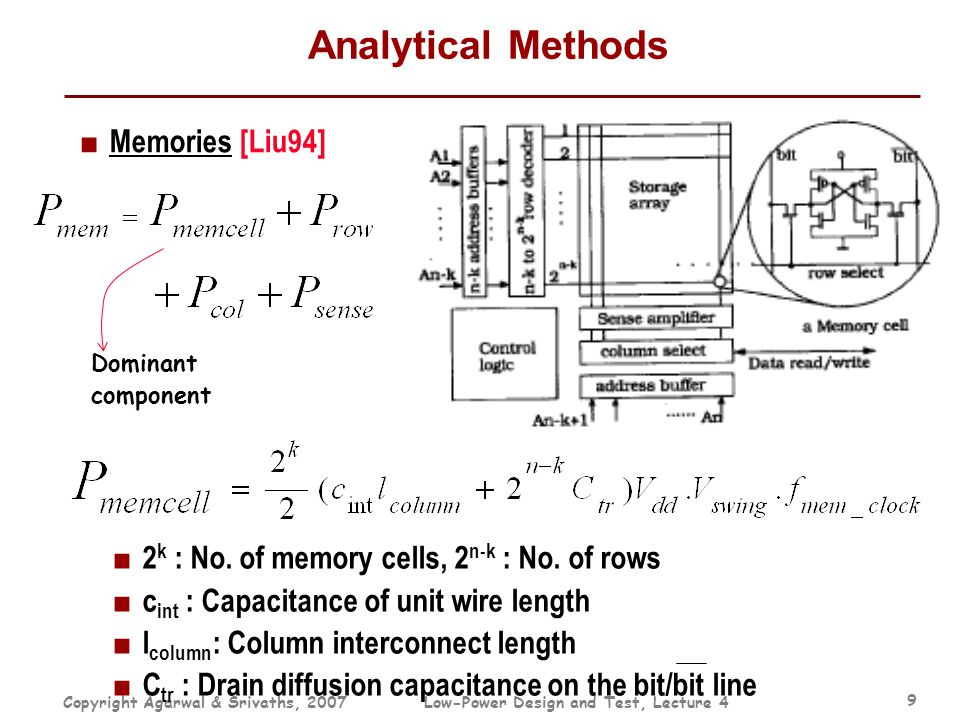 Copyright Agarwal & Srivaths, 2007Low-Power Design and Test, Lecture 4 9 Analytical Methods ■ Memories [Liu94] Dominant component ■ 2 k : No. of memor