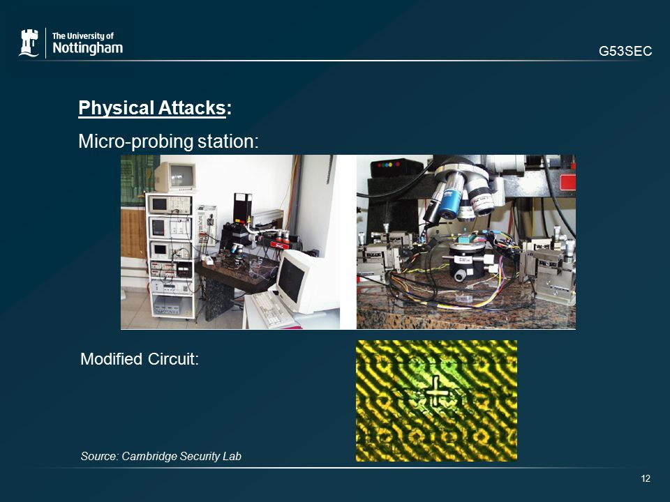 G53SEC Physical Attacks: Micro-probing station: 12 Modified Circuit: Source: Cambridge Security Lab