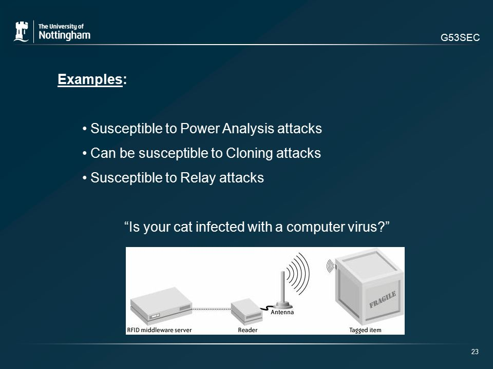 G53SEC Examples: Susceptible to Power Analysis attacks Can be susceptible to Cloning attacks Susceptible to Relay attacks Is your cat infected with a computer virus 23
