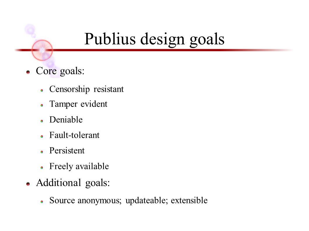 Core goals: Censorship resistant Tamper evident Deniable Fault-tolerant Persistent Freely available Additional goals: Source anonymous; updateable; extensible Publius design goals
