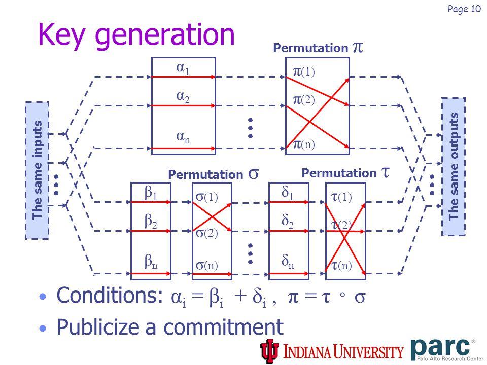 Page 10 Permutation τ Permutation σ Key generation Conditions: α i = β i + δ i, π = τ ◦ σ Publicize a commitment α1α1 α2α2 αnαn Permutation π The same inputs The same outputs β1β1 β2β2 βnβn δ1δ1 δ2δ2 δnδn π (1) π (2) π (n) σ (1) σ (2) σ (n) τ (1) τ (2) τ (n)