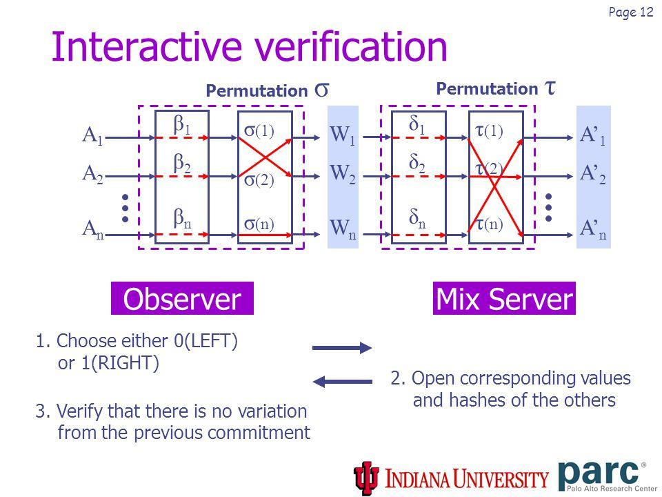 Page 12 Interactive verification Permutation τ Permutation σ β1β1 β2β2 βnβn δ1δ1 δ2δ2 δnδn A1A1 A2A2 AnAn A' 1 A' 2 A' n W1W1 W2W2 WnWn ObserverMix Server 1.