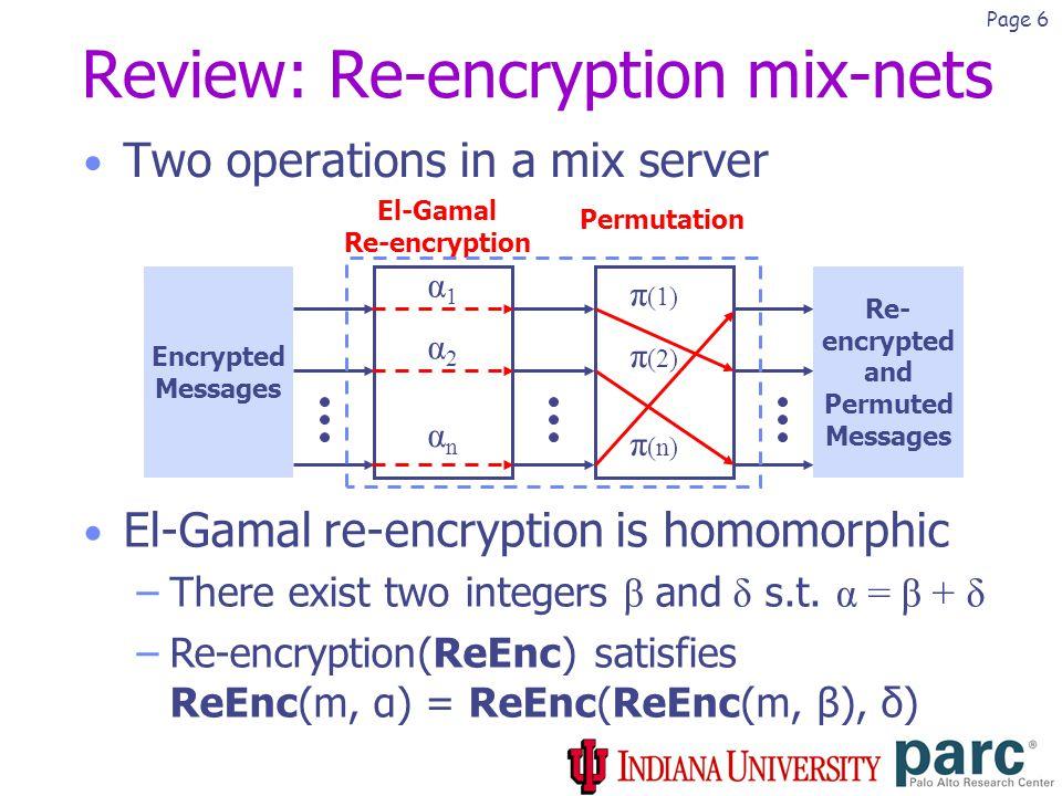 Page 7 Homomorphism El-Gamal re-encryption Encrypted Messages Re- encrypted Messages α = β + δ βδ Permutation =