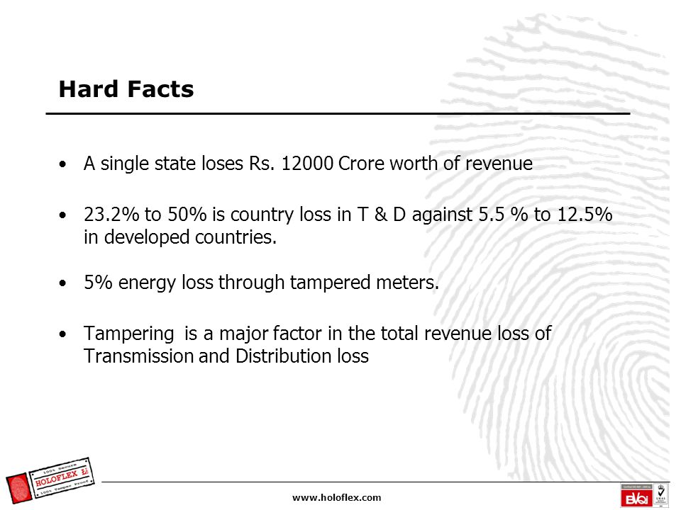 www.holoflex.com Hard Facts A single state loses Rs. 12000 Crore worth of revenue 23.2% to 50% is country loss in T & D against 5.5 % to 12.5% in deve