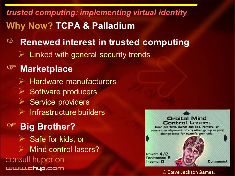 trusted computing: implementing virtual identity Why Now.