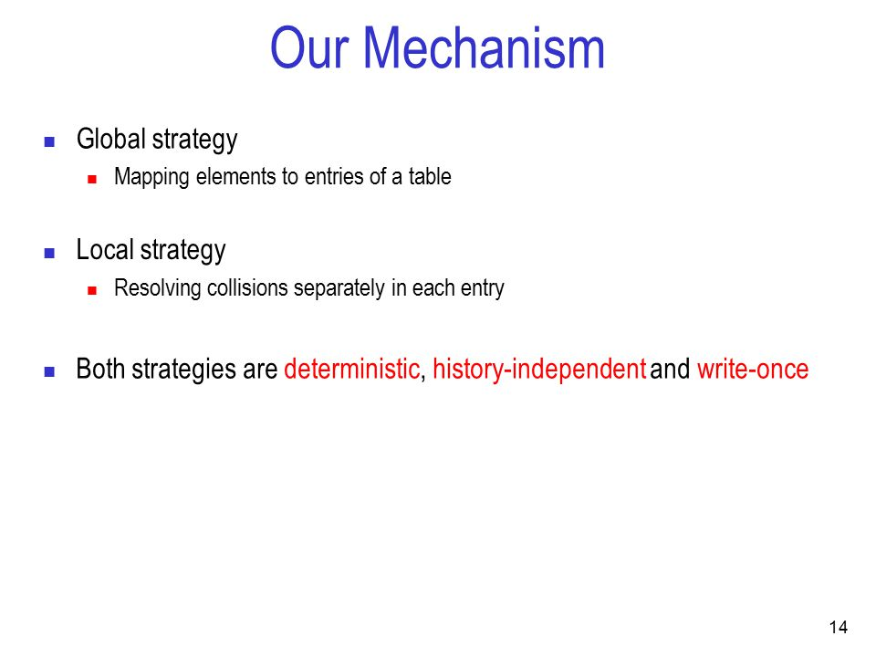 14 Our Mechanism Global strategy Mapping elements to entries of a table Both strategies are deterministic, history-independent and write-once Local strategy Resolving collisions separately in each entry