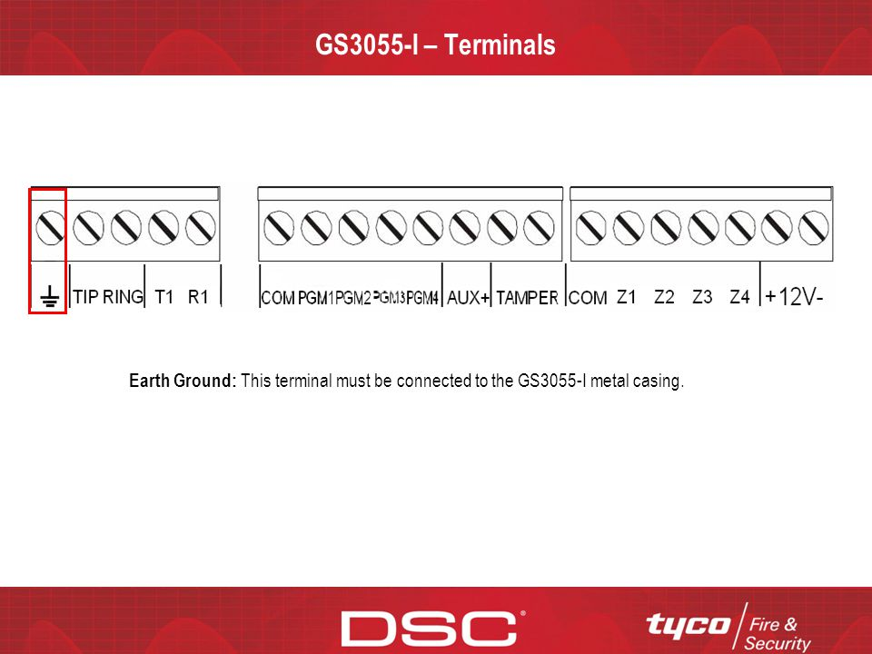 CONFIDENTIAL GS3055-I – Terminals Earth Ground: This terminal must be connected to the GS3055-I metal casing.