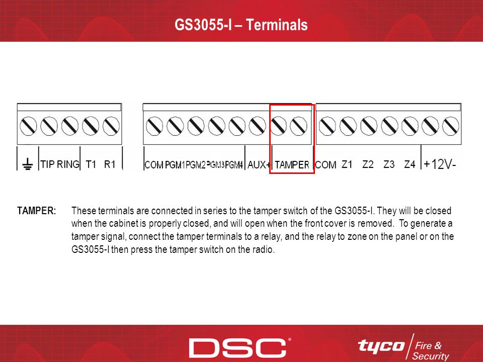 CONFIDENTIAL GS3055-I – Terminals TAMPER: These terminals are connected in series to the tamper switch of the GS3055-I. They will be closed when the c