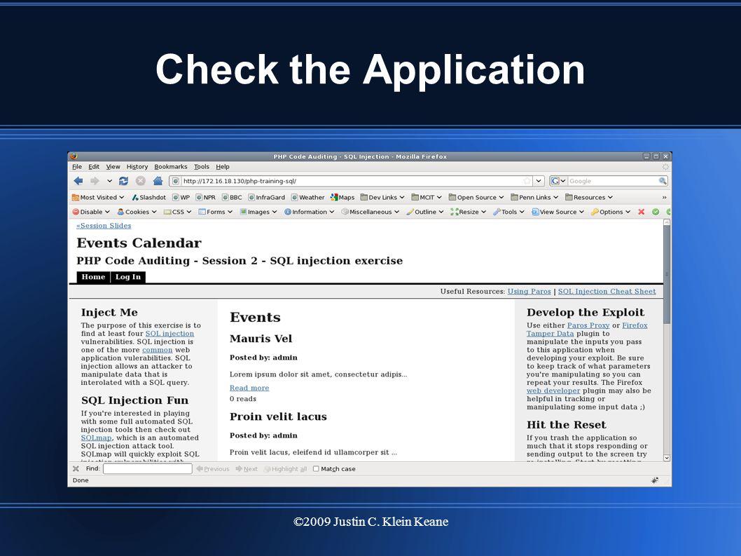 ©2009 Justin C. Klein Keane Check the Application