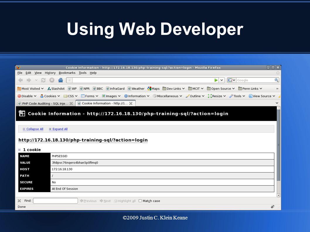 ©2009 Justin C. Klein Keane Using Web Developer