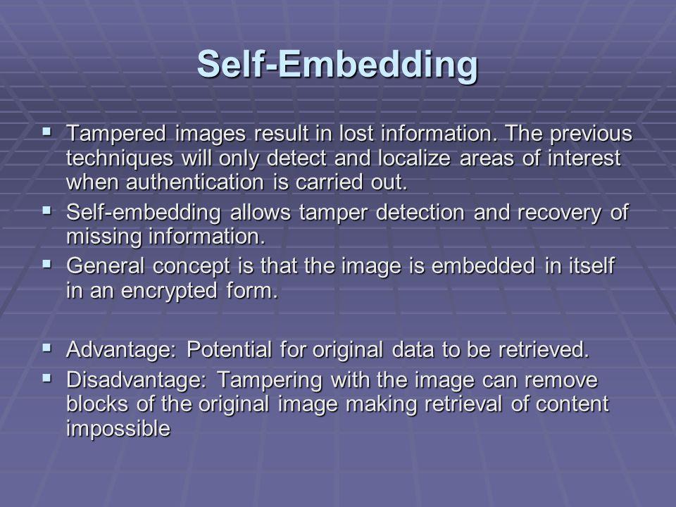 Self-Embedding  Tampered images result in lost information.