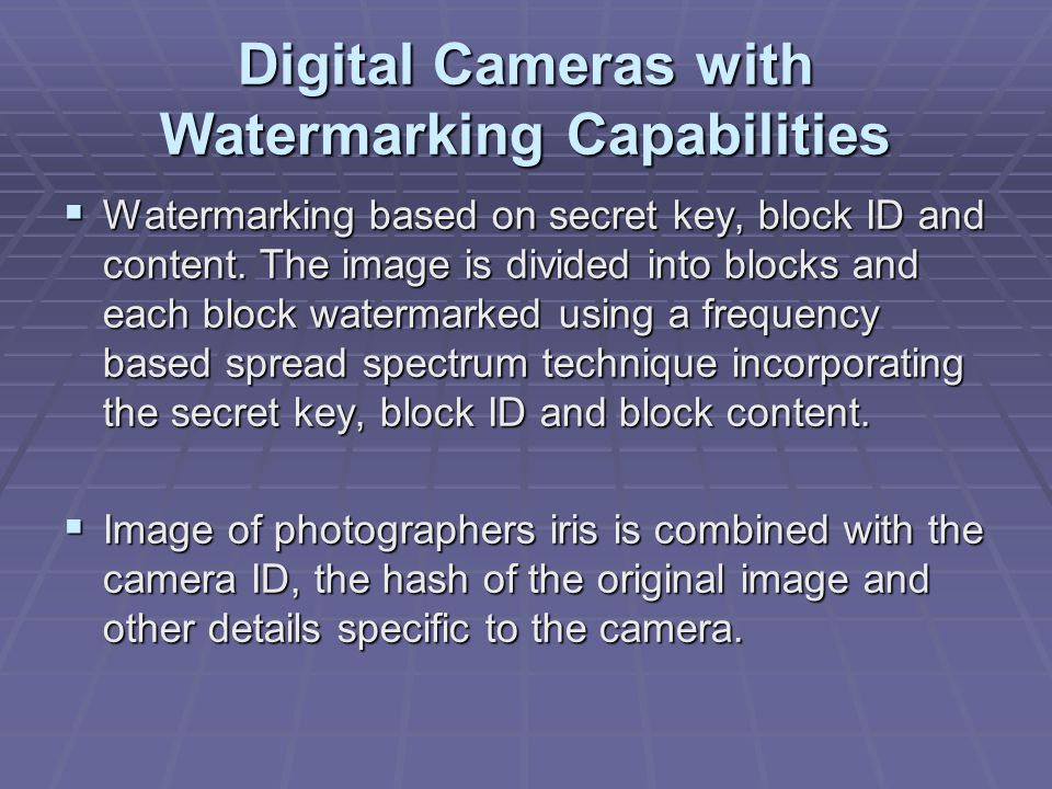 Digital Cameras with Watermarking Capabilities  Watermarking based on secret key, block ID and content.