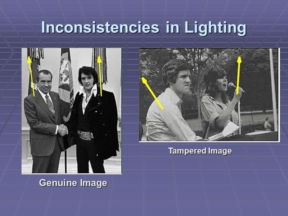 Inconsistencies in Lighting Genuine Image Tampered Image