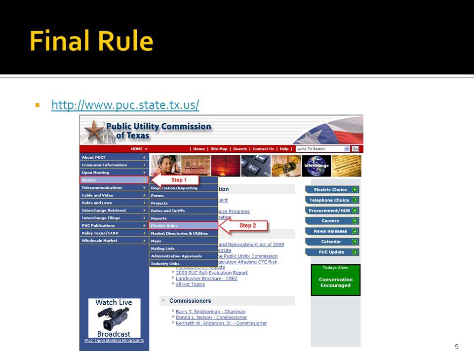  http://www.puc.state.tx.us/ http://www.puc.state.tx.us/ 9