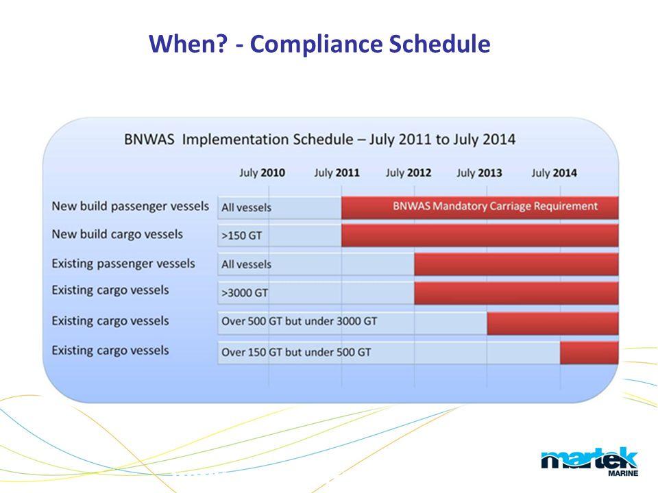 www.martek-marine.com When? - Compliance Schedule