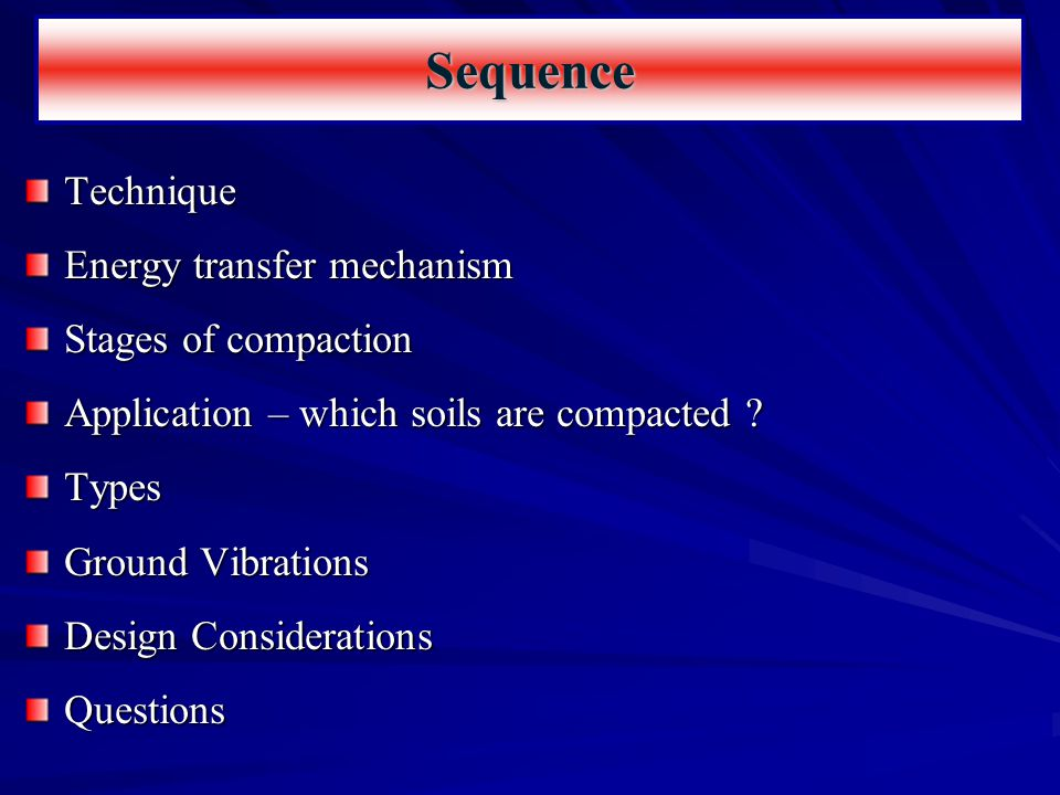 Technique Energy transfer mechanism Stages of compaction Application – which soils are compacted ? Types Ground Vibrations Design Considerations Quest