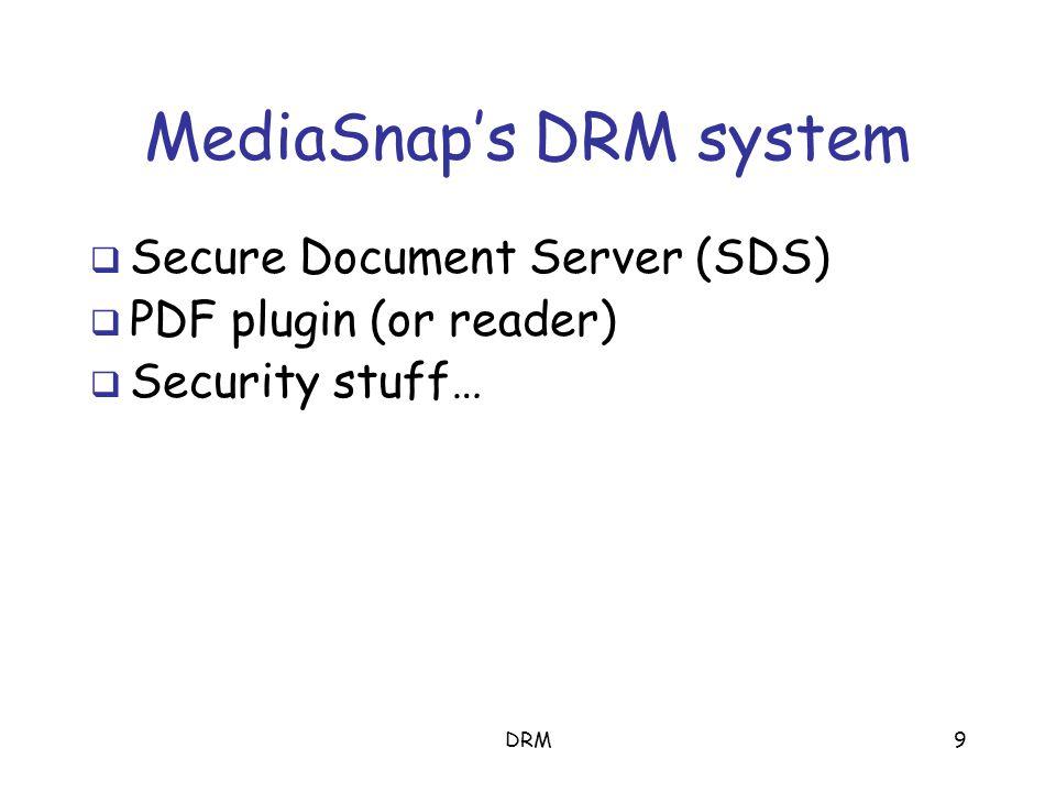 DRM9 MediaSnap's DRM system SSecure Document Server (SDS) PPDF plugin (or reader) SSecurity stuff…