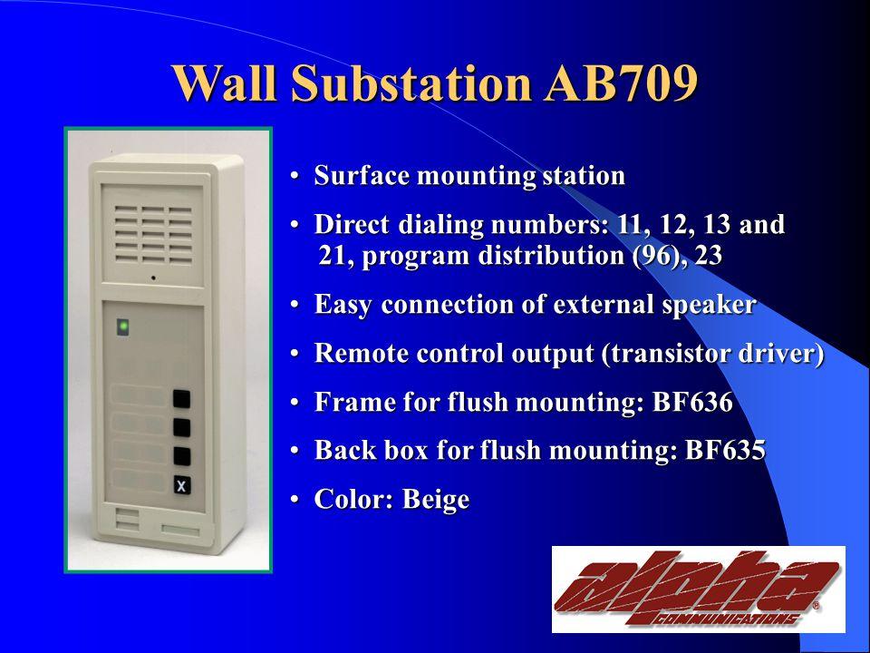 Wall Substations AB709 Wall Substation w/direct dialing AB708 Wall Substation w/Doorbell function BC735 Multipurpose Unit