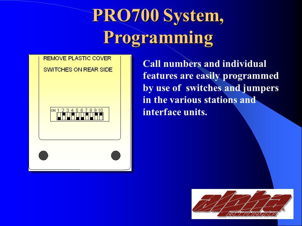 PRO700 System, Installation Installation of various Pro700 stations