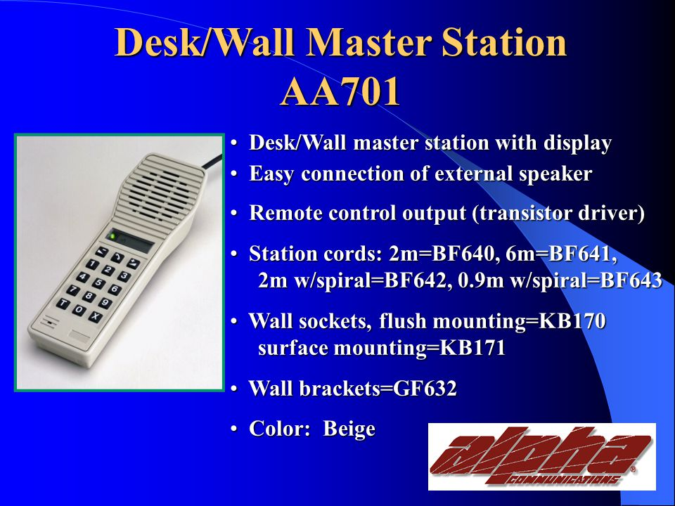Master Stations AA701 Desk/Wall Master Station with display AA702 Wall Master Station with display AA704 Console Master Station